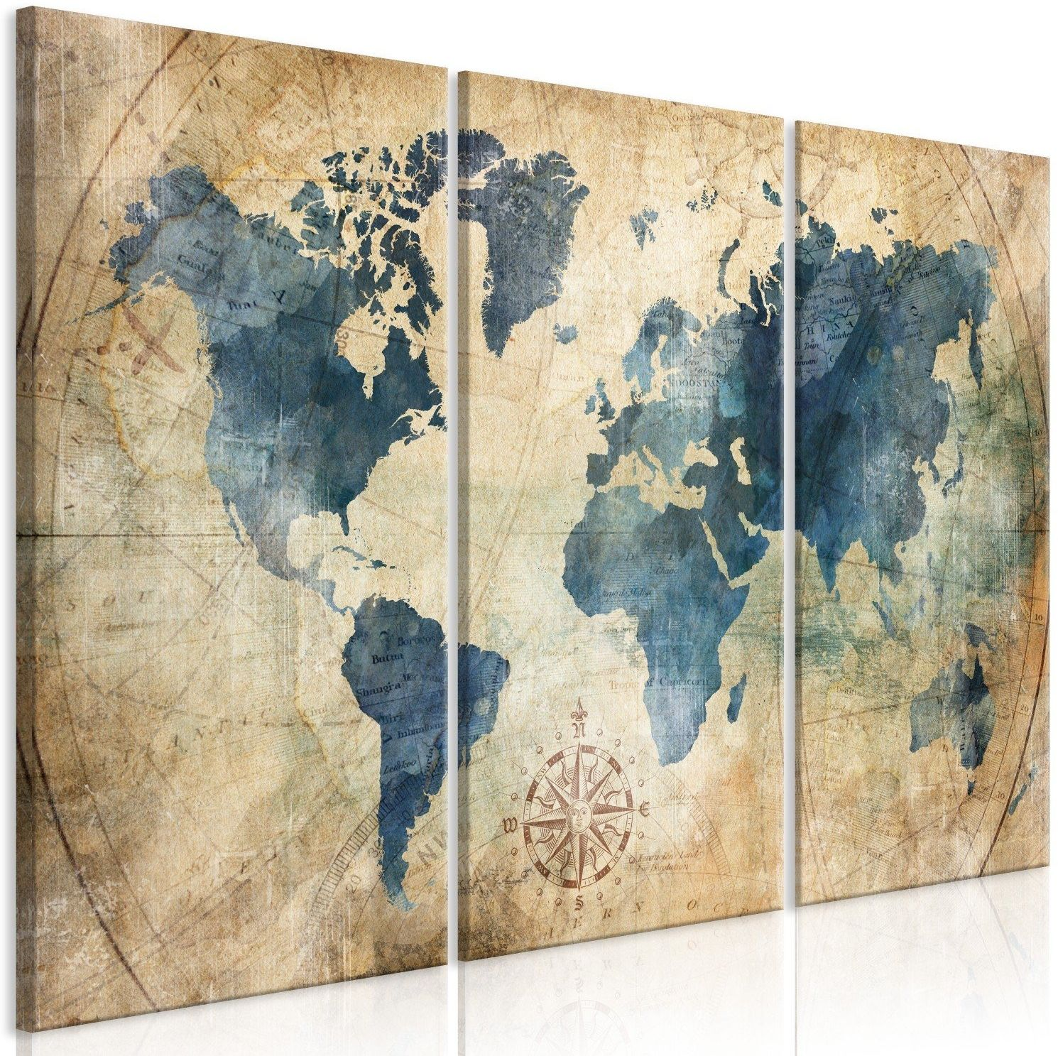 Obraz - retro mapa (3-częściowy)