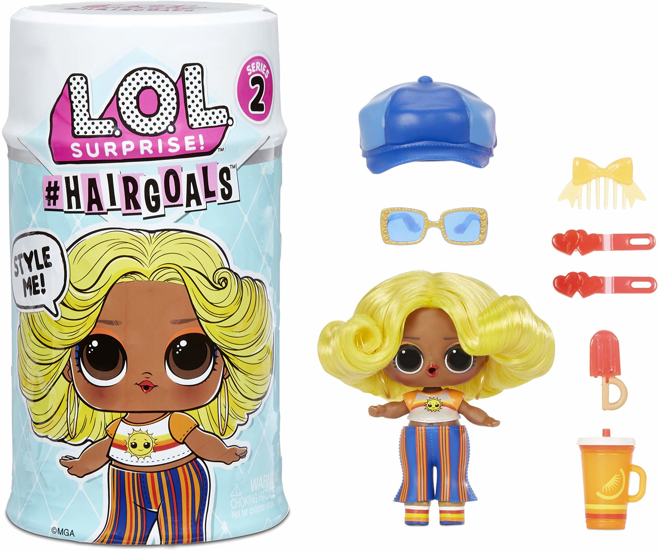 L.O.L. Surprise! 572657EUC cele do włosów seria 2 prawdziwe włosy i 15, akcesoria, lalki niespodzianki