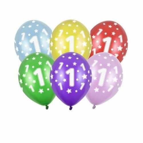 Balony na 1 urodziny z cyfrą 1, metaliczne, 6 szt.