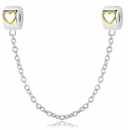 Rodowany srebrny podwójny wiszący charms do pandora chain serce serduszko heart srebro 925 SafetyChain11