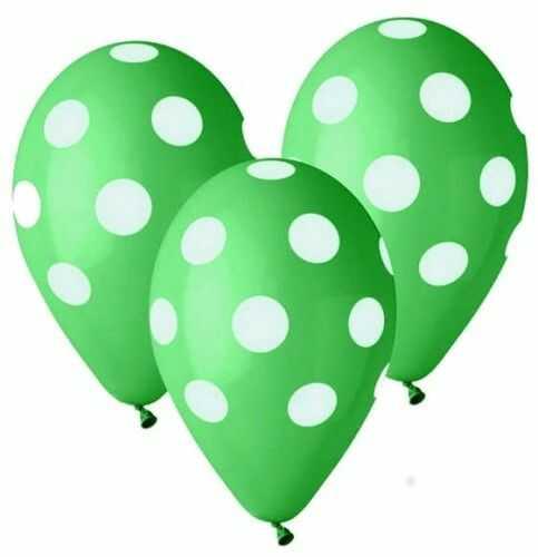 """Balony Premium 12"""" zielone w grochy, 5 szt."""