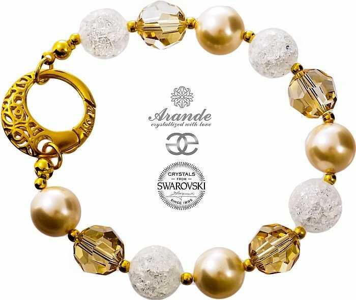 NOWE Swarovski Piękna Bransoletka CRYSTAL WHITE GOLD