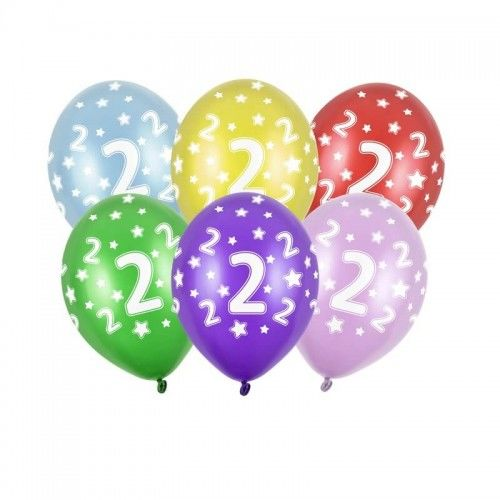 Balony na 2 urodziny z cyfrą 2, metaliczne, 6 szt.