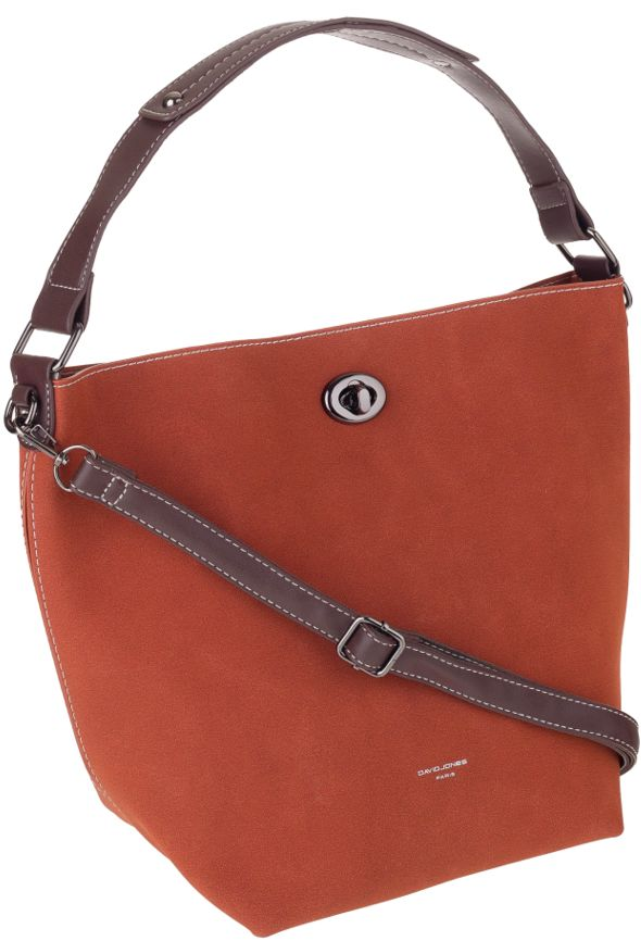 Torebka damska shopper bag 2w1 brązowa David Jones CM5325A