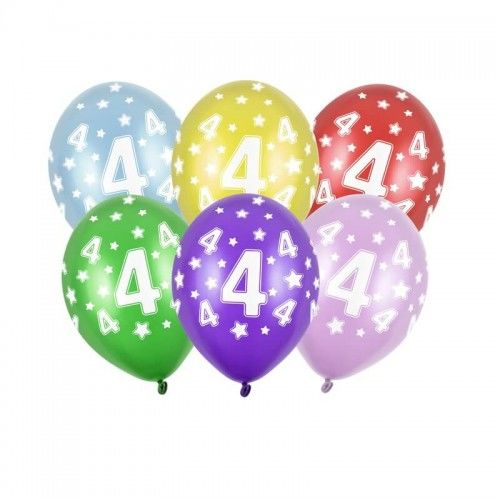 Balony na 4 urodziny z cyfrą 4, metaliczne, 6 szt.