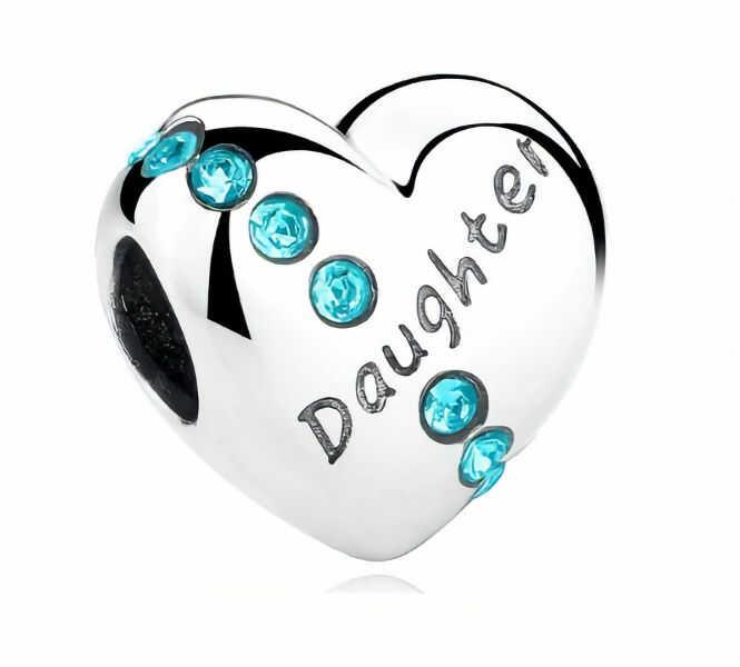 Rodowany srebrny charms do pandora serce heart córka daughter cyrkonie srebro 925 BEAD099