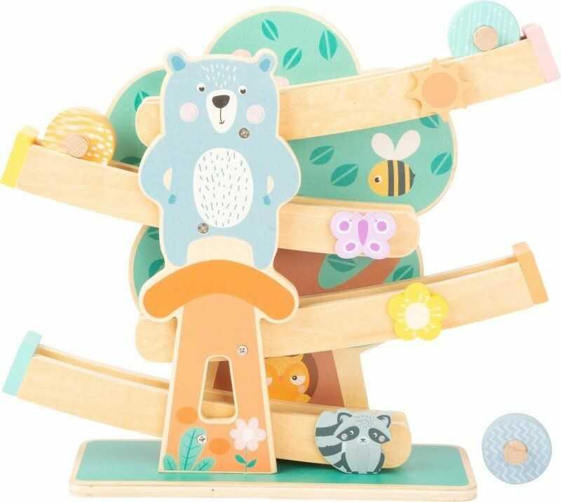 Drewniany tor zjeżdżalnia Pastelowe drzewo Miś i przyjaciele 11473-Small Foot, tory na kulki dla dzieci