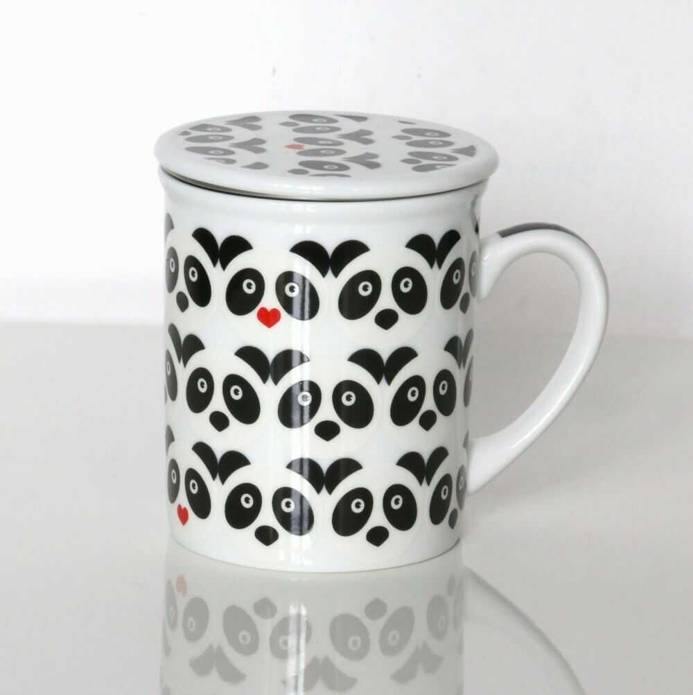 Kubek PANDA LOVE z zaparzaczem i pokrywką  prezent upominek dla zakochanych walentynki