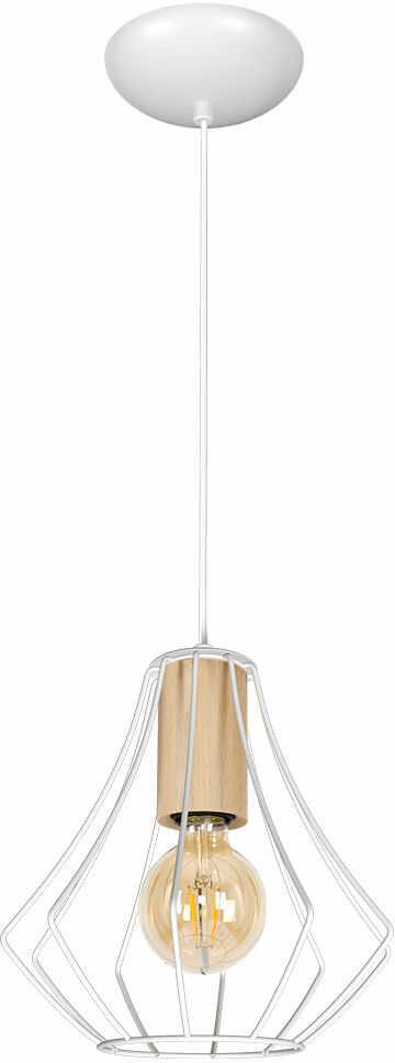 Milagro WILL WHITE MLP4179 lampa wisząca biała elementy drewniane klosz ażurowy 1xE27 24cm