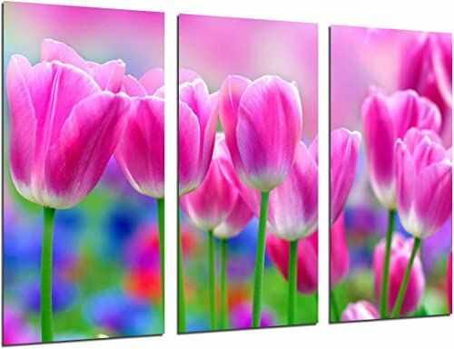 Nr ref.26285 obraz ścienny - pole tulipany, róże, 97 x 62 cm, druk drewniany - format XXL - druk artystyczny, nr ref.26285