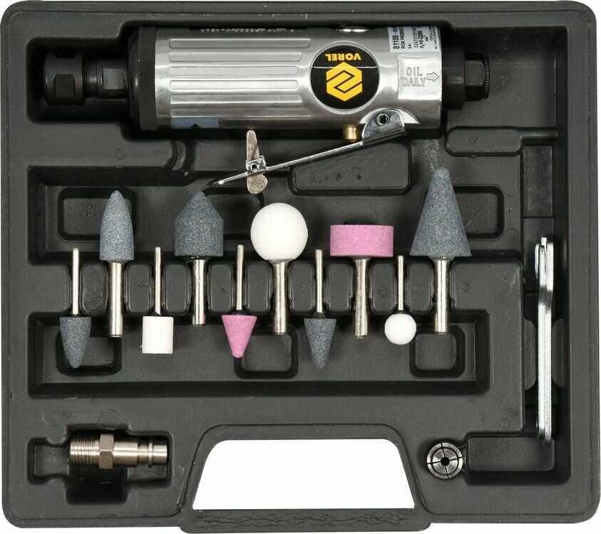 Szlifierka pneumatyczna prosta z akcesoriami. Vorel 81109 - ZYSKAJ RABAT 30 ZŁ