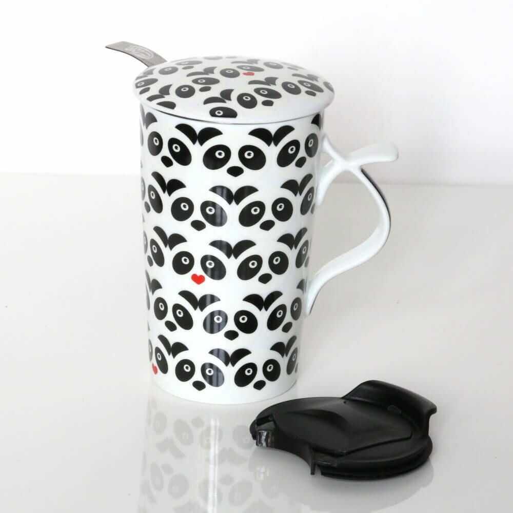 Duży kubek PANDA LOVE z zaparzaczem i pokrywką  prezent upominek dla zakochanych walentynki