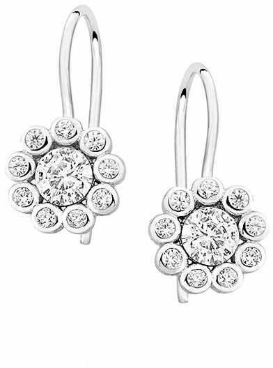 Wiszące rodowane srebrne okrągłe kolczyki białe cyrkonie srebro 925 Z1420D_W