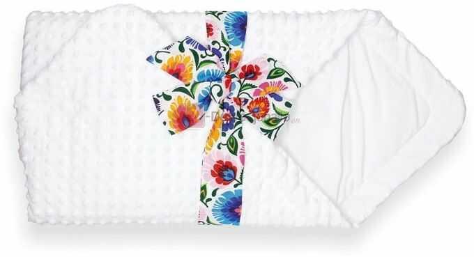 Rożek biały MINKY z kokardą FOLK