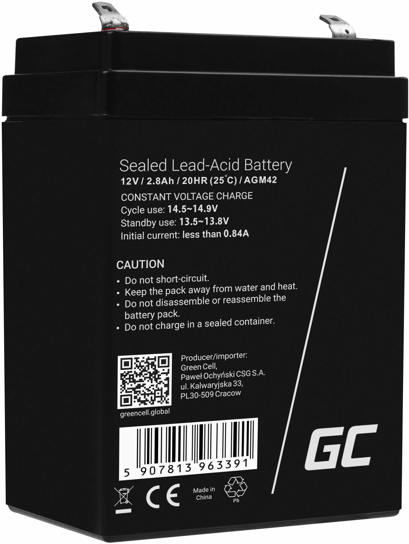 Green Cell AGM VRLA 12V 2.8Ah bezobsługowy akumulator do systemu alarmowego kasy fiskalnej zabawki
