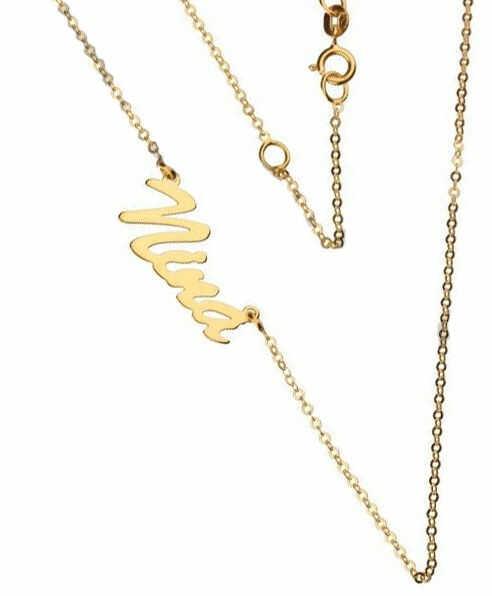 Złoty naszyjnik 333 łańcuszek z zawieszką imię Nina 0,95 g