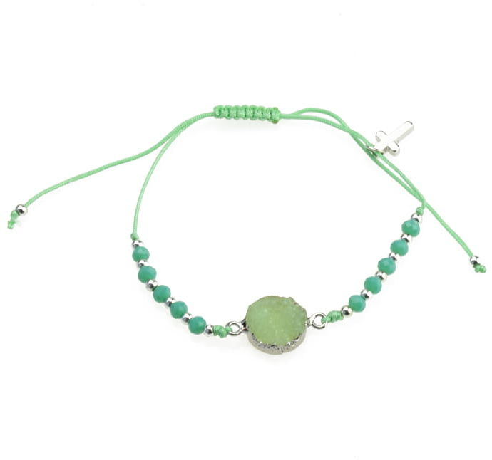 Dziesiątka różańca bransoletka religijna z zieloną cyrkonią