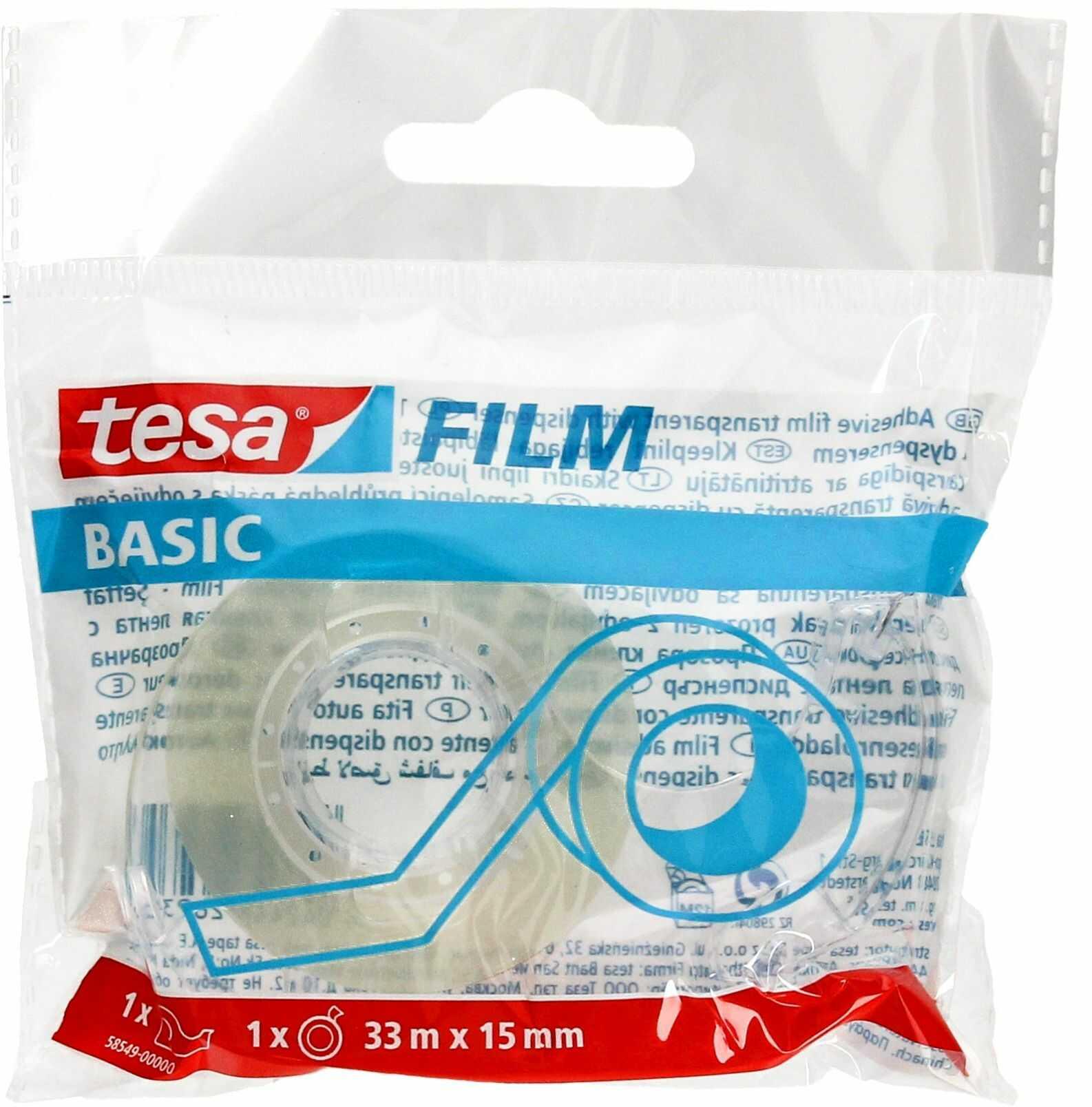 Taśma klejąca 15mmx33m przezroczysta + podajnik Tesa