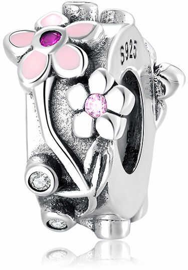 Rodowany srebrny charms do pandora kwiaty flowers cyrkonie cyrkonie srebro 925 BEAD35Q