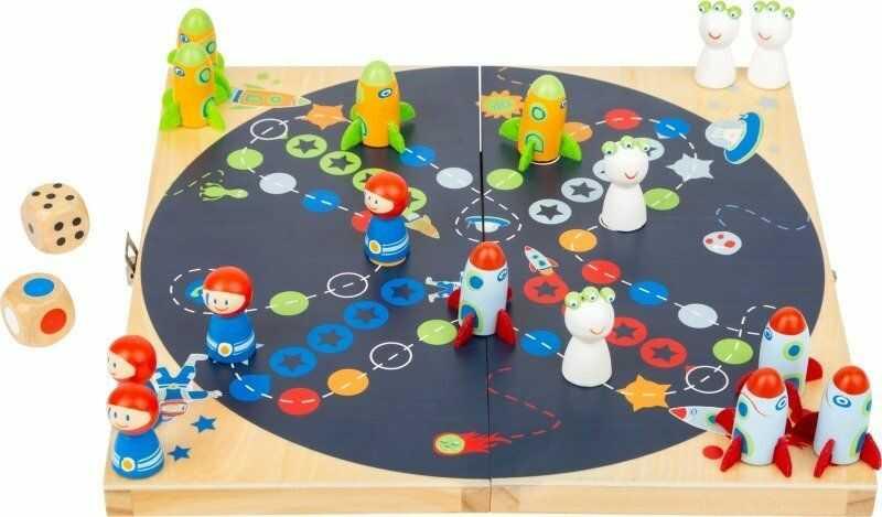 Drewniany chińczyk W kosmosie 11452-Small Foot Design, gry planszowe dla dzieci