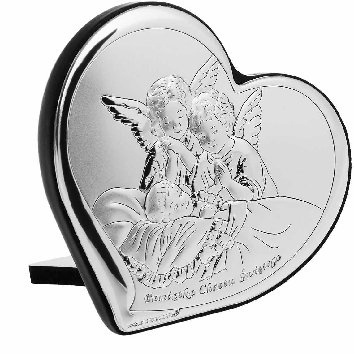 """Obrazek Anioły """"Pamiątka Chrztu Świętego"""" Serce Chrzest Grawer"""