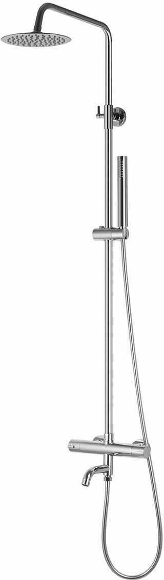 Corsan kolumna prysznicowa termostatyczna z wylewką regulowana Lugo Slim chrom CMN016
