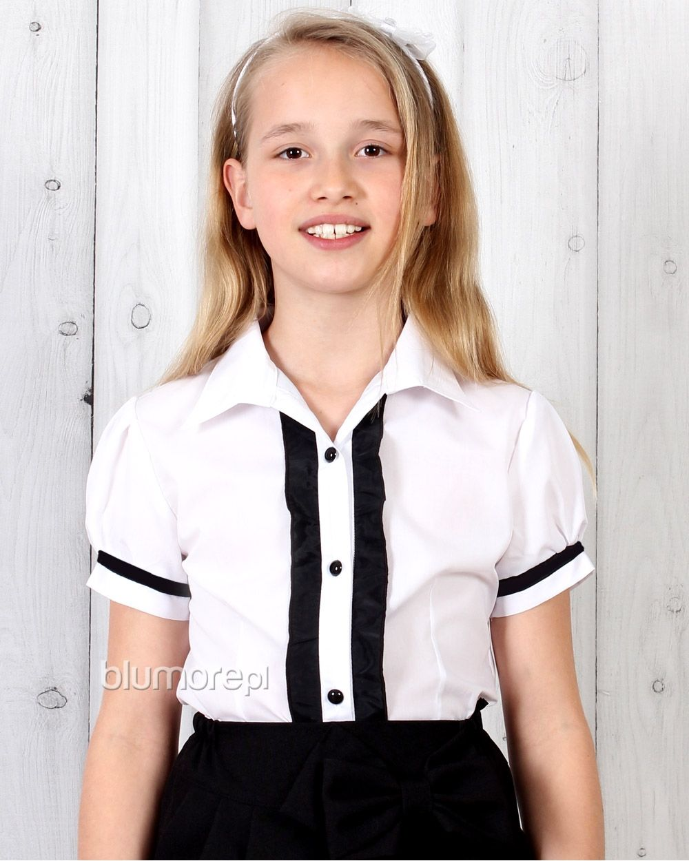 Bluzka dla dziewczynki krótki rękaw 122 - 158 Lucynka biel