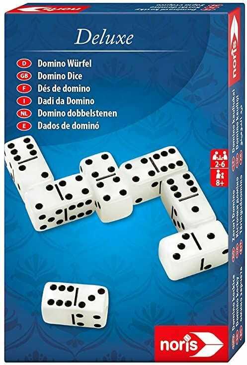 Noris 606101931 Deluxe Domino kostka  gra wymagająca ryzyka i szczęścia  z notesem, dla dzieci od 8 lat