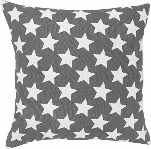 Elbersdrucke Stars Allover 17 poduszek, bawełna, biało-antracyt, 45 x 45 cm