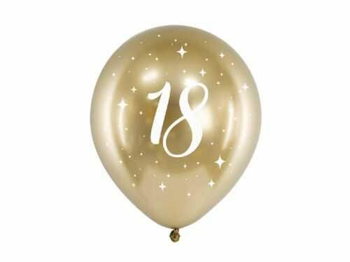 Balony Glossy na 18 urodziny złote, 6 szt.