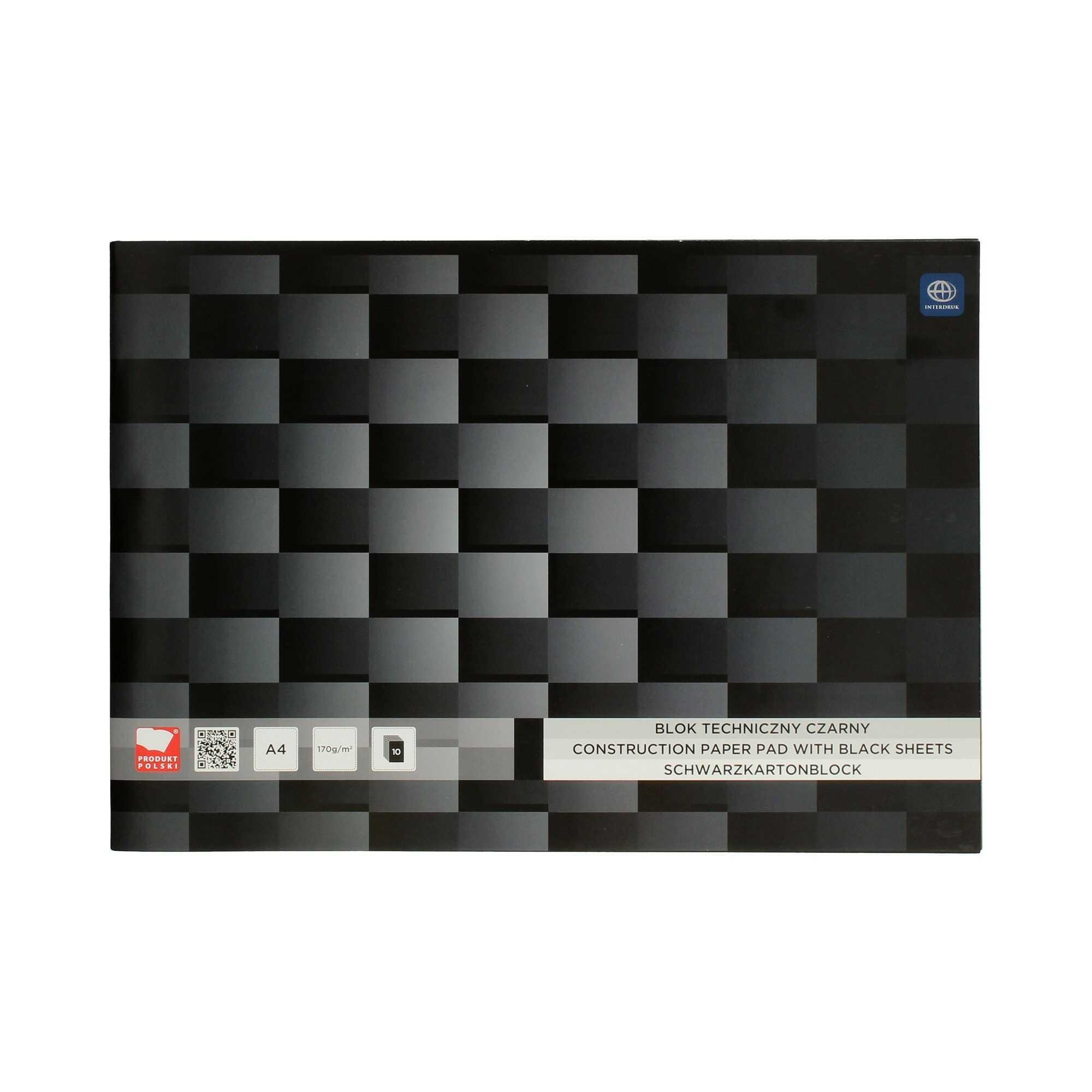 Blok techniczny A4/10 czarny Interdruk