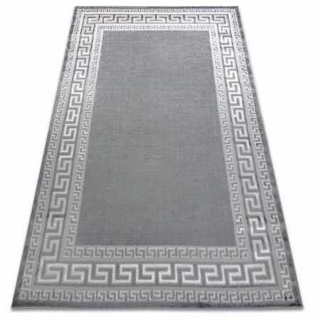 Dywan MEFE nowoczesny 2813 Ramka, grecki klucz - Strukturalny, dwa poziomy runa szary 80x150 cm