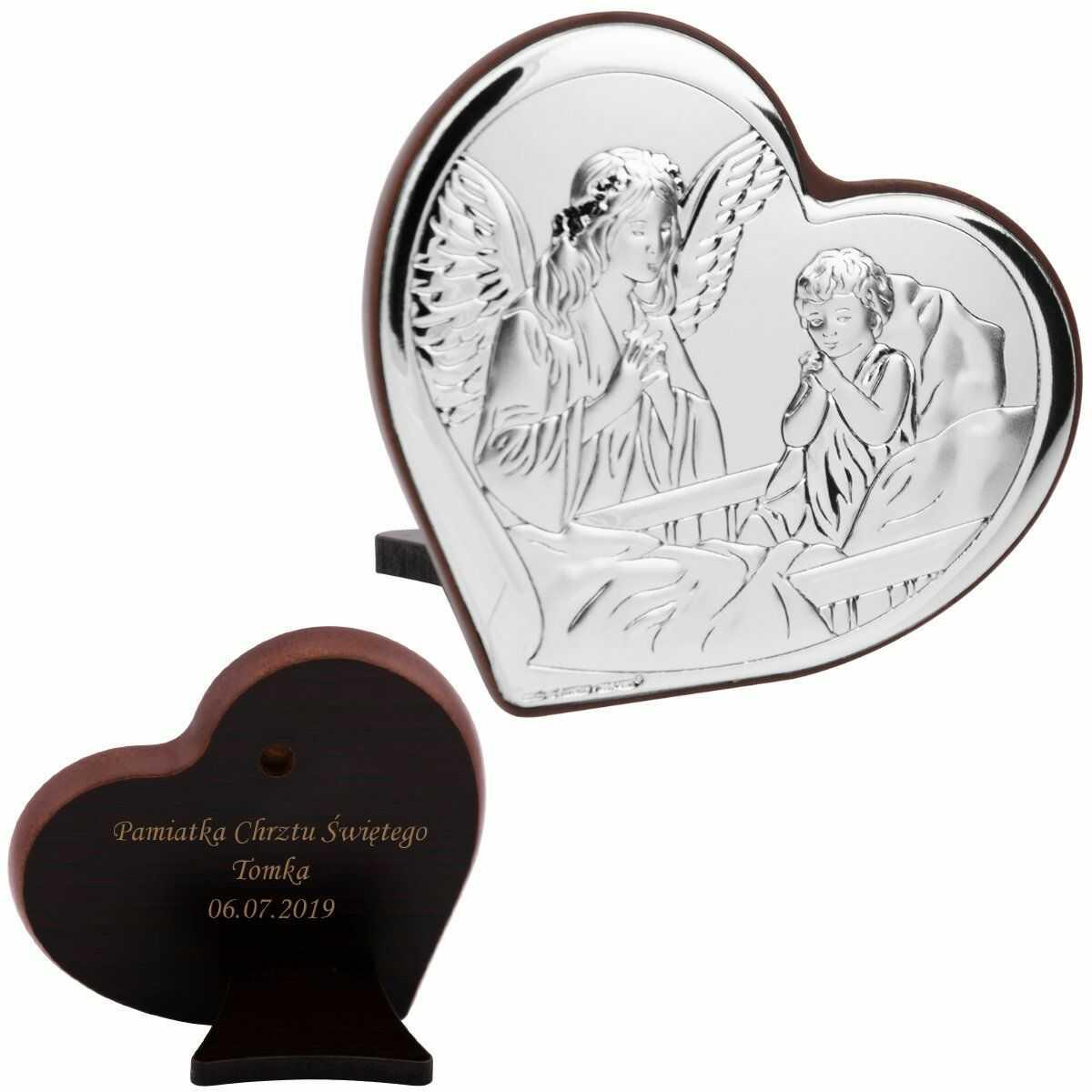 Obrazek Anioł Stróż w sercu Pamiątka Chrztu Grawer