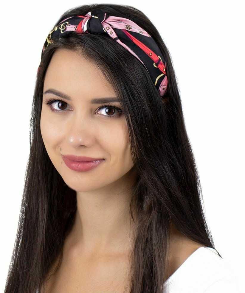 Opaska do włosów węzeł sztywna pin up turban wzór