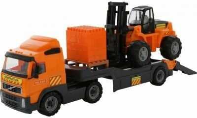 WADER QT Samochód Ciężarówka Volvo Zestaw Laweta + Wózek Widłowy