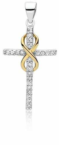 Rodowany srebrny krzyżyk krzyż nieskończoność infinity cyrkonia cyrkonie srebro 925 Z1543C_G