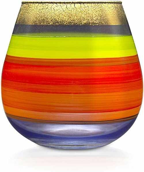Angela Neue Wiener Werkstätte Świecznik Vesuvio Tempera wazony z kolorowego szkła, kolorowy, 15 cm
