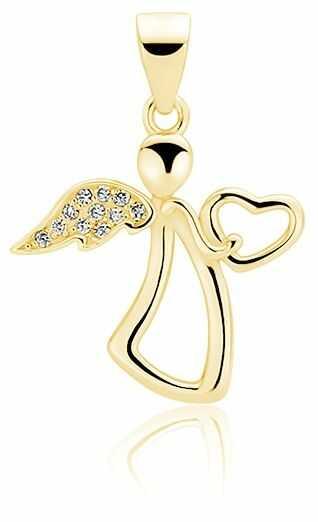 Pozłacany srebrny wisior wisiorek anioł aniołek angel cyrkonia białe cyrkonie srebro 925 Z1601C_G