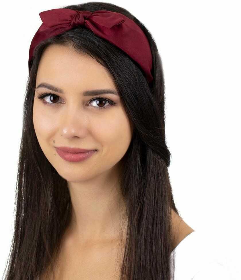 Opaska do włosów kokarda szeroka węzeł czerwona