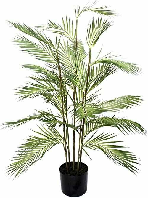 GreenBrokers Sztuczna palma 120 cm w czarnym plastikowym doniczce, zielona, 120