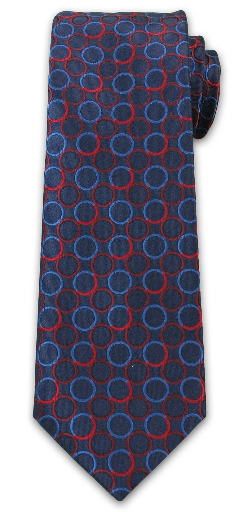Stylowy Krawat Męski w Niebiesko-Czerwone Koła - Chattier- 6,7cm- Kolorowy KRCH1011