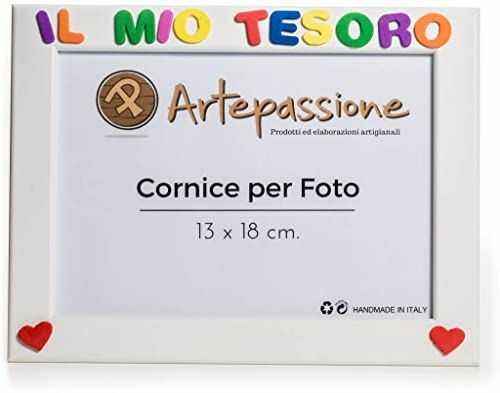 """Drewniana ramka na zdjęcia z napisem""""La Mio Tesoro i ozdobiona sercami, biała, 13 x 18 cm"""