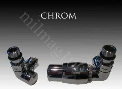 Zestaw zaworów grzejnikowych termostatycznych VISION prawy CHROM
