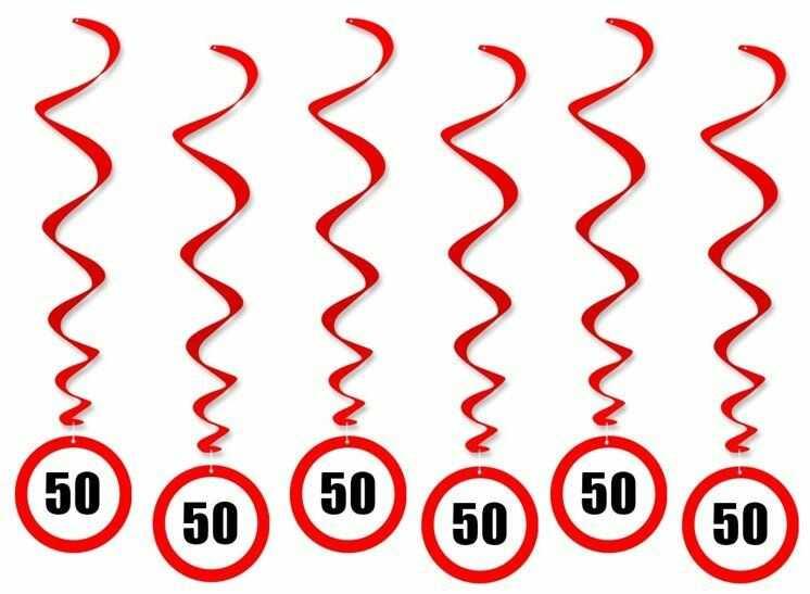 Dekoracja wisząca na 50 urodziny znak zakazu 6szt SWID-ZAK50