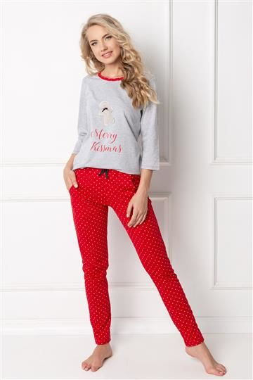 Pizama Cookie Long Grey-Red