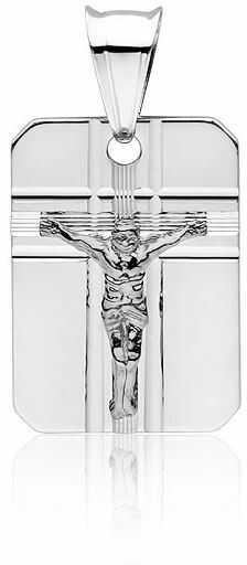 Srebrny wisiorek blaszka krzyżk krzyż z wizerunkiem Jezusa Chrystusa srebro 925 GMD019