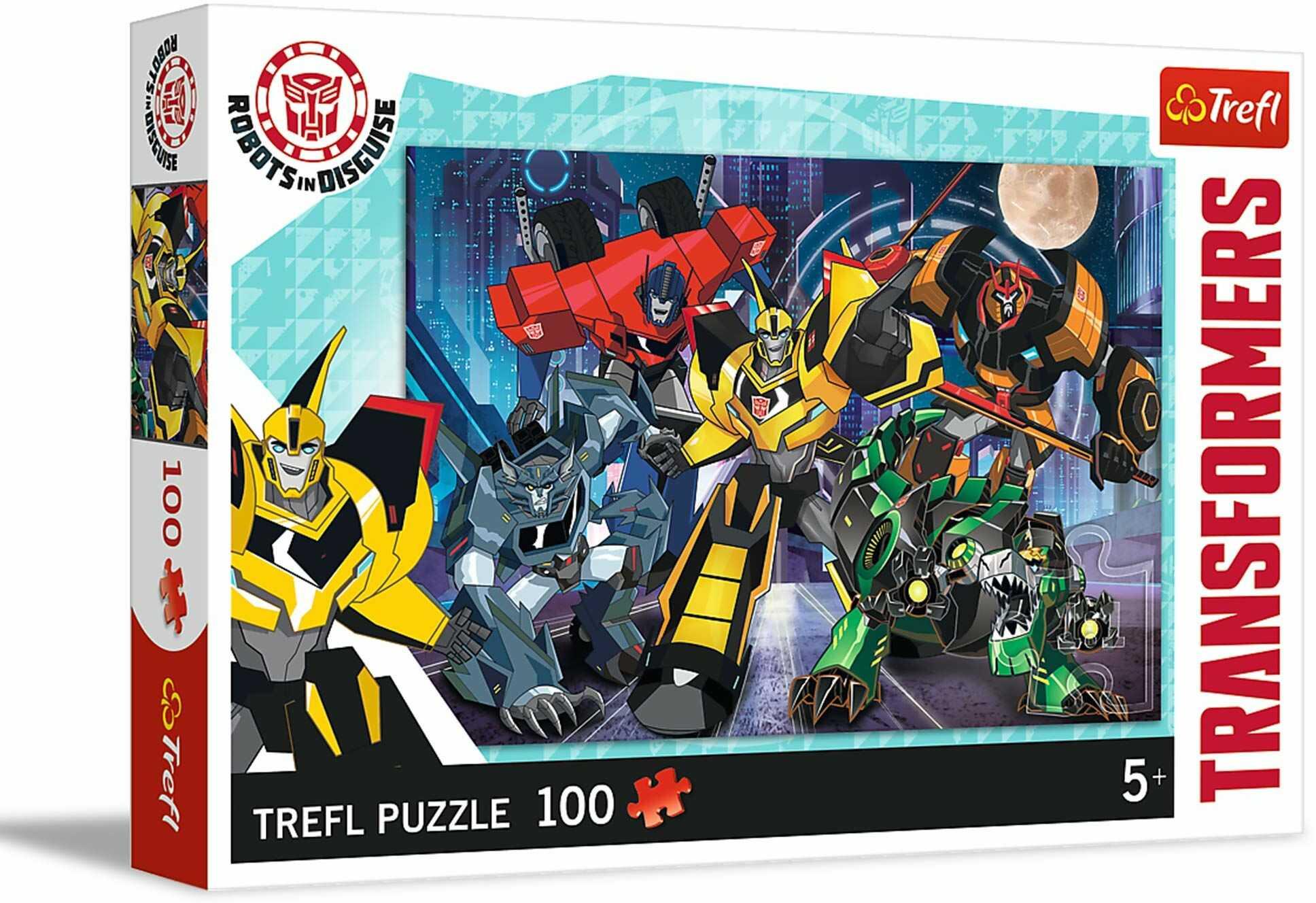 Trefl Drużyna Autobotów Puzzle 100 Elementów Transformers o Wysokiej Jakości Nadruku dla Dzieci od 5 lat