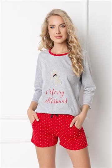 Pizama Cookie Short Grey-Red