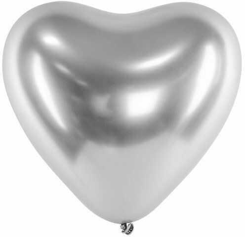 Balony glossy serca srebrne 27cm 5 sztuk BAL8887