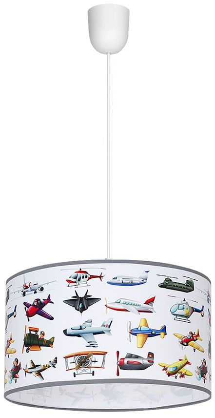 Milagro PLANES MLP4296 lampa wisząca dziecięca klosz kształt walca samoloty 1xE27 30cm